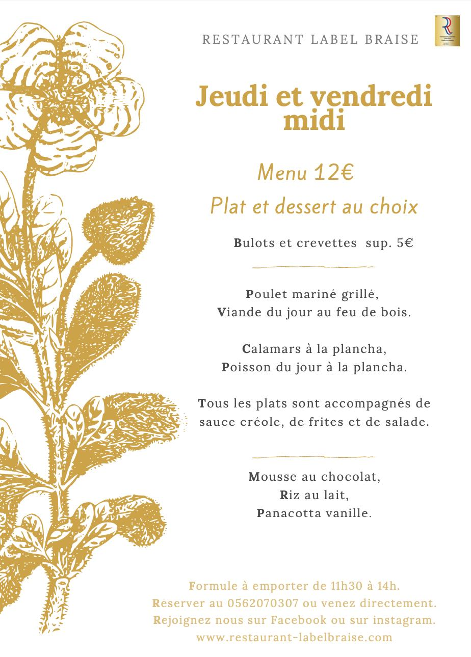 restaurant Label Braise Menu Midi